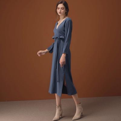AIR SPACE LADY 2WAY交叉V領排釦純色開衩洋裝(附腰帶)(藍)