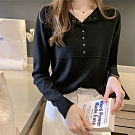 中大尺碼圓領半開釦小鐵釦中間壓線棉質T恤XL~4L-Ballet Dolly