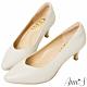 Ann'S舒適療癒系低跟版-V型美腿綿羊皮尖頭跟鞋-米白(版型偏小) product thumbnail 1