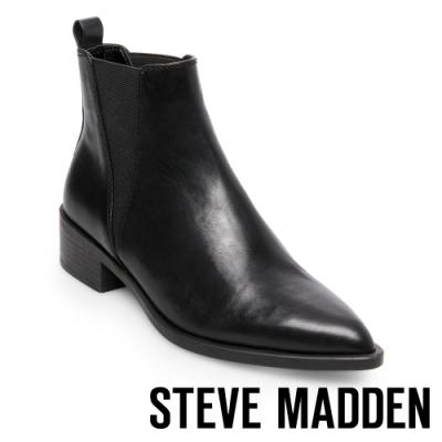 STEVE MADDEN-JERRY 拉長腳型 皮革鬆緊帶短筒尖頭靴-黑色