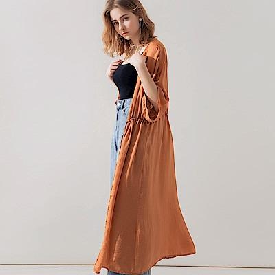 AIR SPACE 光澤感抽繩罩衫(橘)