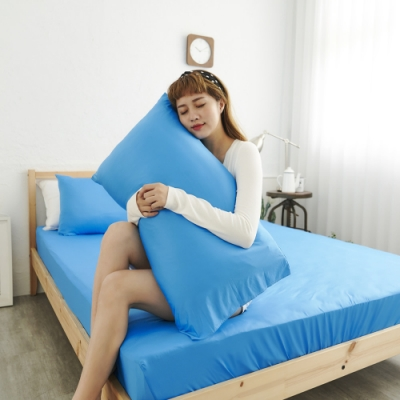 Adorar COOL沁涼純粹素色美式薄枕套2入-藍