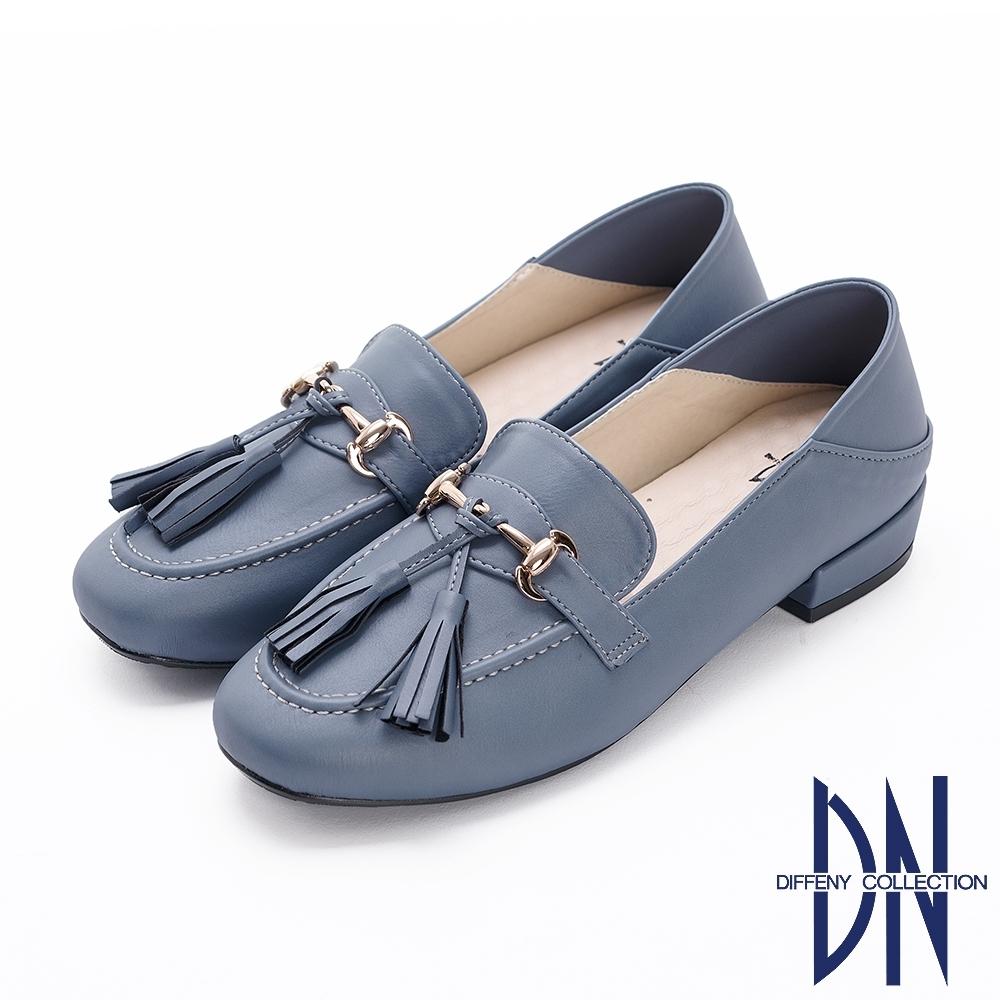DN樂福鞋_MIT學院風流蘇金屬扣樂福低跟鞋-藍