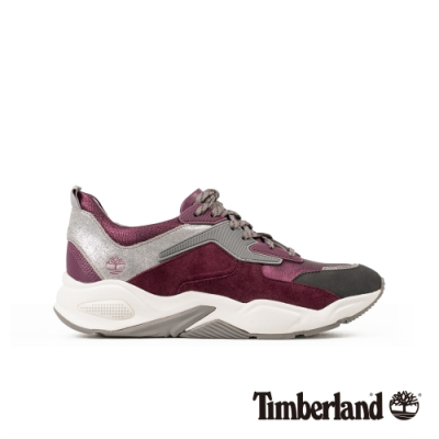 Timberland 女款深紫色金屬皮革厚底運動鞋|A23EM