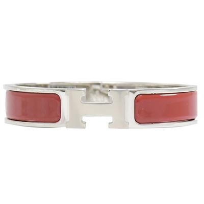 HERMES CLIC H LOGO琺瑯扣式手環(銀/正紅)