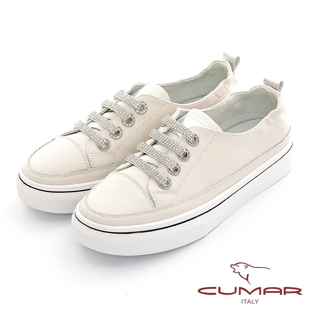 【CUMAR】簡約線條鑽飾休閒鞋-米