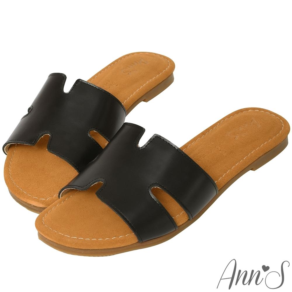 Ann'S水洗牛皮-復古真皮擦色鏤空平底涼鞋-黑
