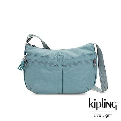 Kipling 冰霜綠雙拉鍊前袋肩背包-IZELLAH