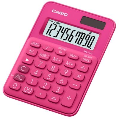 CASIO 10位元甜美馬卡龍迷你型計算機(MS-7UC-RD)-紅蜜桃