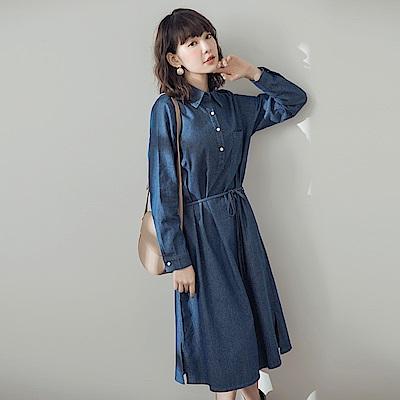 附綁帶高含棉半開襟單寧洋裝-OB大尺碼