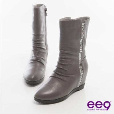 ee9 時尚心機 百搭素面自然抓皺內增高中筒靴 灰色