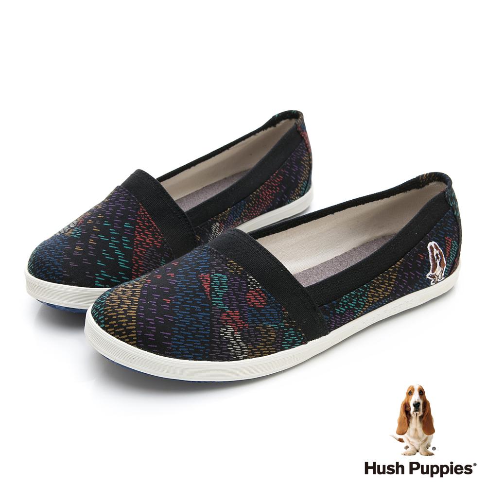 Hush Puppies 絢爛煙火咖啡紗懶人鞋-黑色