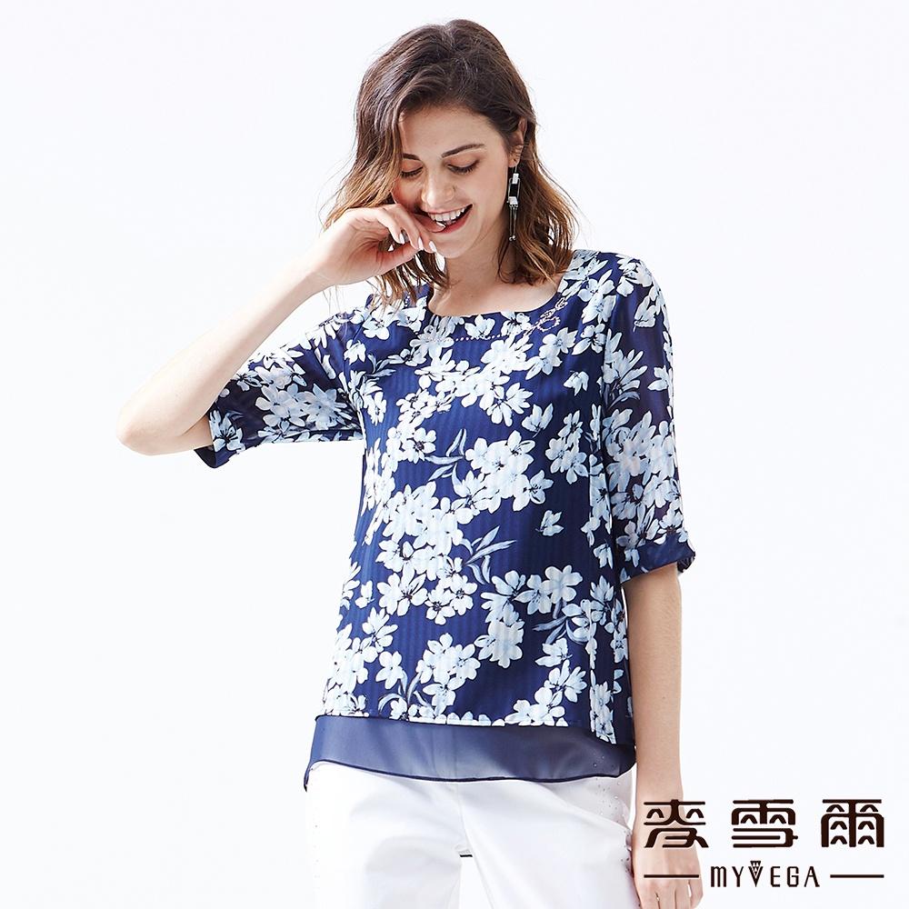 【麥雪爾】典雅氣質花卉雙層雪紡上衣 product image 1