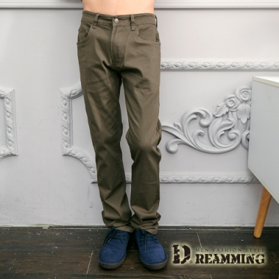 Dreamming 極簡百搭素面彈力休閒長褲-褐綠