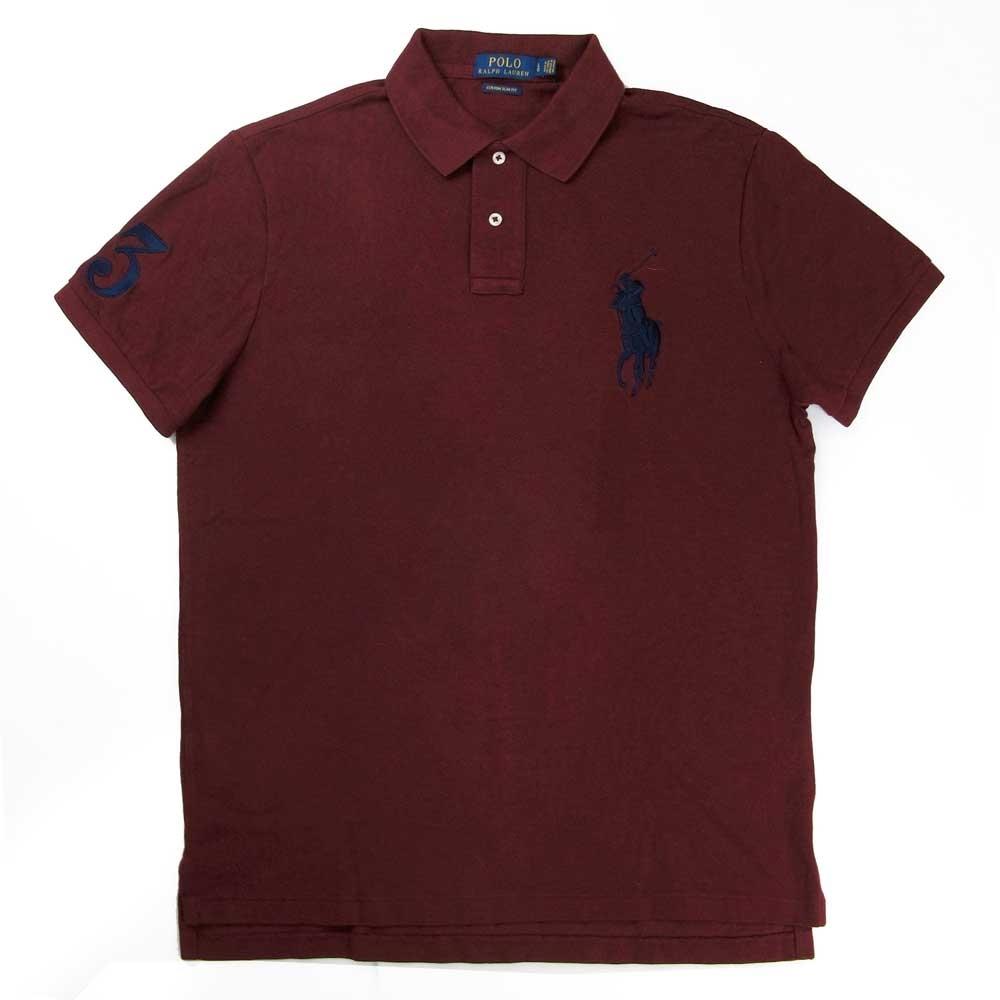Polo Ralph Lauren 大馬Logo暗紅色3號馬球短袖網眼Polo衫(Custom Slim Fit)