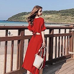 La Belleza背後排釦綁帶鏤空露背鬆緊腰連身洋裝(情人節送禮)