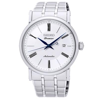 SEIKO 精工 Premier 時尚薄型機械手錶 SRPA17J1-銀/40mm