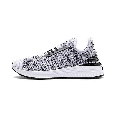 PUMA-AVID evoKNIT Mosaic 男女復古慢跑運動鞋-白色