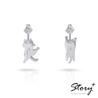 STORY故事銀飾-貓小姐系列-收編我吧純銀貓耳環