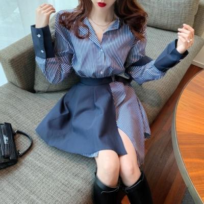 La Belleza條紋長版開釦襯衫加袖子配色可拆式腰繫短裙兩件式上衣
