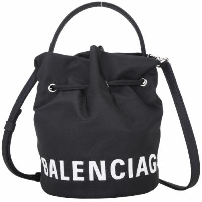 BALENCIAGA Wheel XS 字母刺繡尼龍手提/斜背水桶包(黑色)