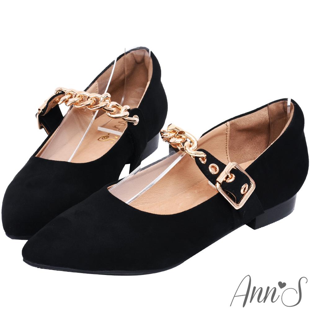 Ann'S品味嬌點-魔鬼氈金鍊扣帶平底尖頭鞋-黑