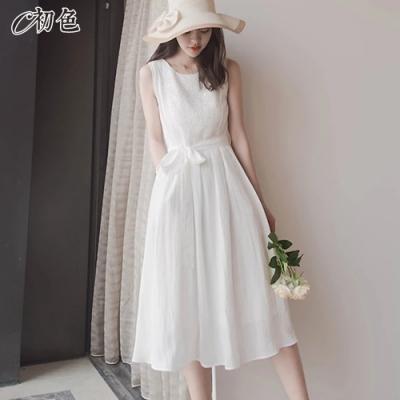 初色  復古蕾絲雪紡無袖洋裝-白色-(M-XL可選)