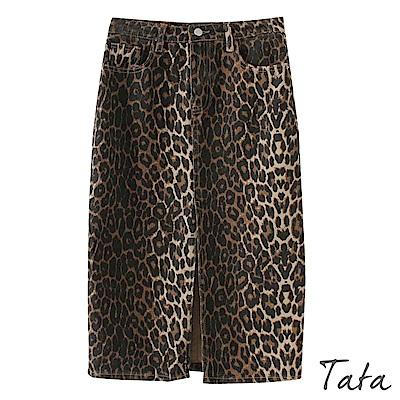 豹紋大開叉牛仔半身裙 TATA