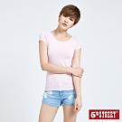 5th STREET 涼感素色 短袖T恤-女-粉紅色