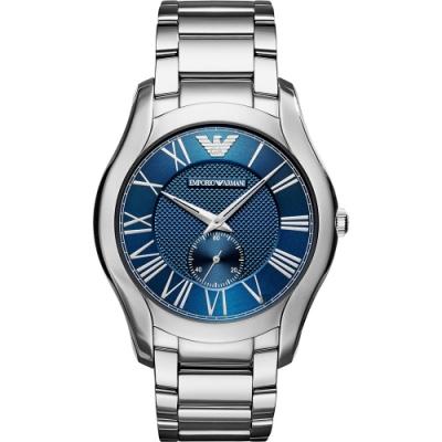 Emporio Armani 亞曼尼羅馬小秒針手錶(AR11085)-藍x銀/43mm