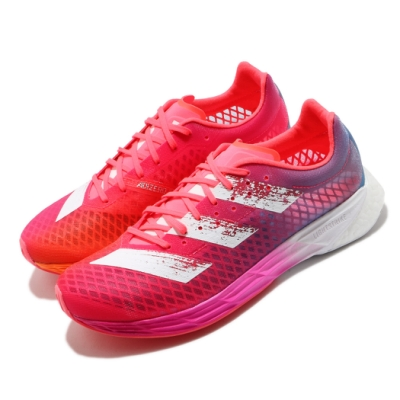 adidas 慢跑鞋 Adizero Pro M 運動 男鞋 愛迪達 Boost中底 超輕彈力避震 紅 粉 FW9253