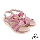 A.S.O 機能休閒 挺麗氣墊牛皮拚色條帶休閒涼鞋-粉