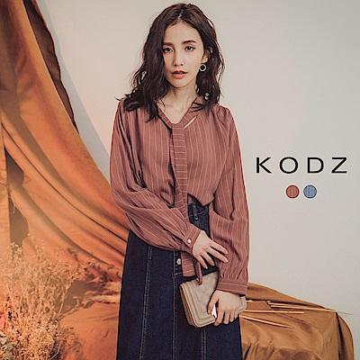 東京著衣-KODZ 無印名品直紋胸前綁帶長袖上衣-S.M.L(共二色)