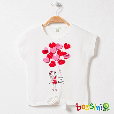 bossini女童-圓領短袖上衣09珍珠白
