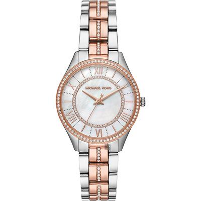 Michael Kors Lauryn 羅馬女神晶鑽女錶-珍珠貝x雙色版/33mm