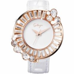 Galtiscopio 迦堤 閃轉浪漫系列幾何手錶-白x玫塊金/36mm