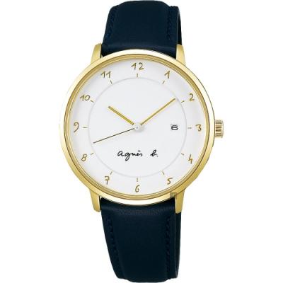 agnes b. 法國時尚簡約風情女錶(B4A004J1)-白x金框x黑/33mm