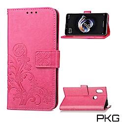 PKG 紅米Note7  側翻式皮套-精選皮套系列-幸運草-玫紅