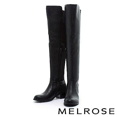 長靴 MELROSE 極簡主義異材質拼接粗低跟過膝長靴-黑