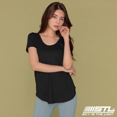 STL Yoga FANCY MODAL SS 韓國瑜珈 莫代爾 運動機能 輕透快乾 微合身低圓領短袖上衣 / 比基尼外罩 黑色Black