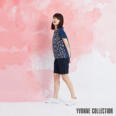 YVONNE 手繪小花印花拼接上衣-藍