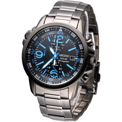SEIKO手錶 環保光動能三眼鬧鈴腕錶-IP黑/ 藍時刻