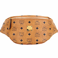 MCM Stark 小款 品牌塗層帆布胸背/腰包(棕色)