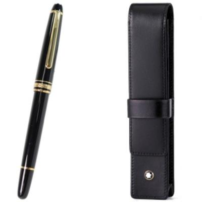 MONTBLANC 萬寶龍 經典金夾 鋼珠筆+小牛皮 一入筆套