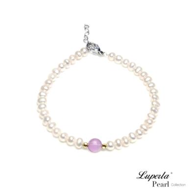大東山珠寶 14K金氣質白珍珠能量寶石手鍊 紫水晶