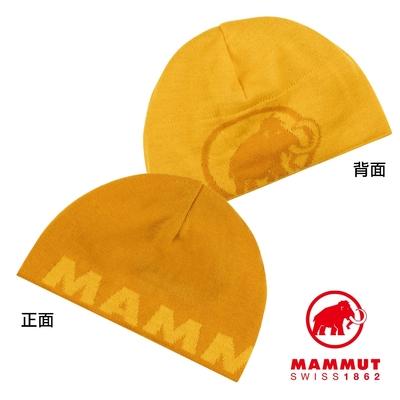 【Mammut】Mammut Logo Beanie 正反兩用LOGO保暖羊毛帽 金黃/黃鳶尾 #1191-04891