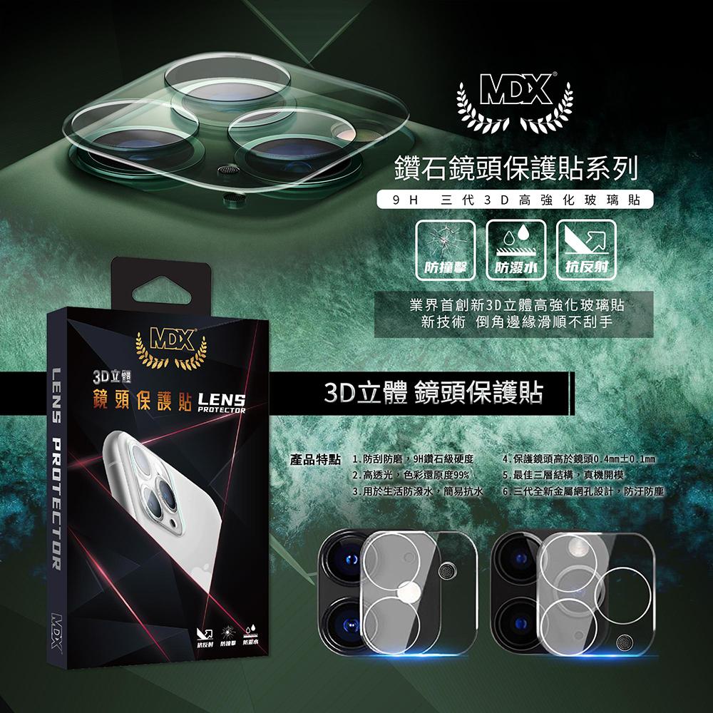 【膜帝斯MDX】IPHONE 11 晶透系列 3D立體玻璃鏡頭膜+防塵網(三代)
