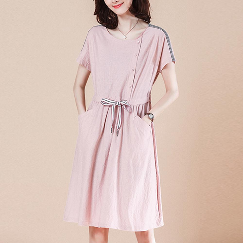 初色  側扣造型棉質洋裝-粉色-(M-2XL可選)