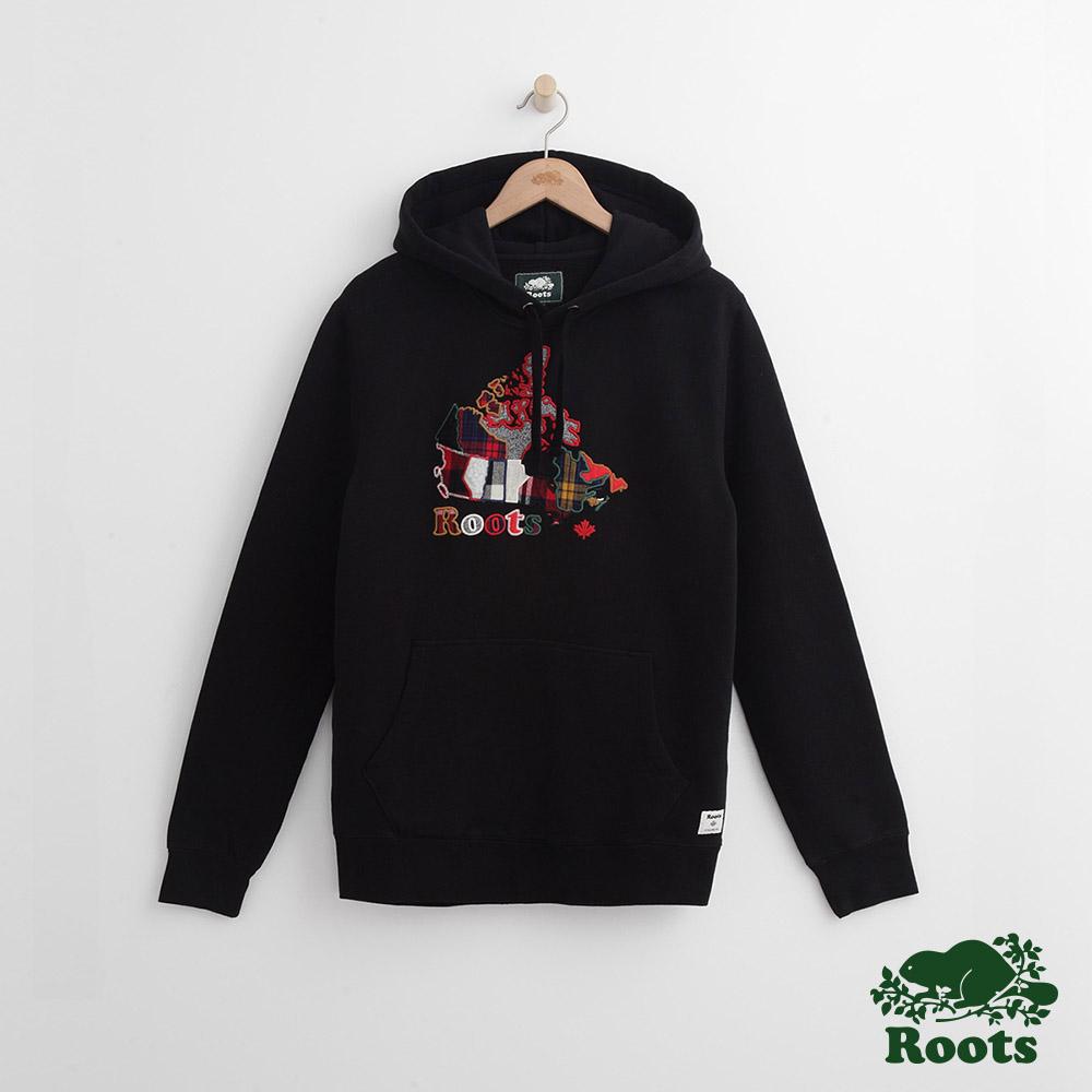 Roots 男裝- 周年系列 格紋地圖連帽上衣-黑