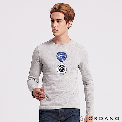 GIORDANO 男裝圓領英文標語長袖印花T恤-37 中花灰